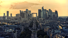 La Defense, business district in Paris. La Defense district viewed from the Arc de Triomphe Royalty Free Stock Image