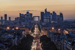 La Defense, business district in Paris. La Defense district viewed from the Arc de Triomphe Royalty Free Stock Photos