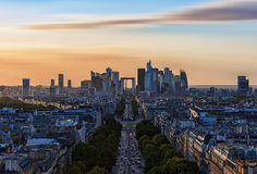 La Defense, business district in Paris. La Defense district viewed from the Arc de Triomphe Stock Photo