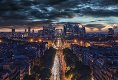 La Defense, business district in Paris. La Defense district viewed from the Arc de Triomphe Royalty Free Stock Photos