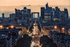 La Defense, business district in Paris. La Defense district viewed from the Arc de Triomphe Stock Photos