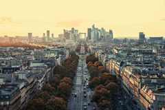La Defense, business district in Paris. La Defense district viewed from the Arc de Triomphe Royalty Free Stock Images