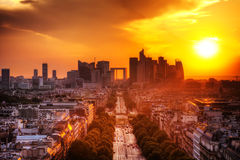 La Defense and Champs-Elysees, Paris, France. View on La Defense and Champs-Elysees at sunset in Paris, France royalty free stock photo