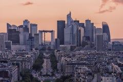 Paris city at evening stock photos