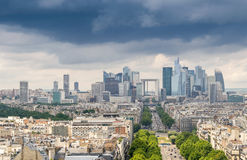 La Defense financial district in Paris. Aerial view Stock Photography