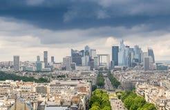 La Defense financial district in Paris. Aerial view Stock Photography