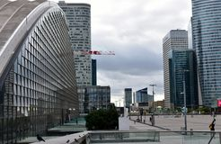 La Defense financial district. Paris, France. August 2018. Holiday morning, almost empty square, mall and skyscrapers. royalty free stock photo
