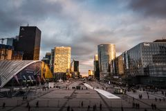 Spectacular view of the financial district in Paris royalty free stock photo