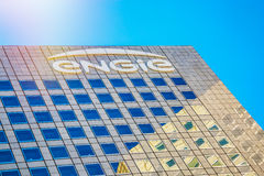 La defense, France - July 17, 2016: Close-up on top of Engie tower. Engie is a French multinational electric utility company which Royalty Free Stock Image