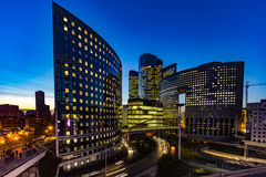 La Defense at night, Paris. Modern building of La Defense, Business districk at the west of Paris at night Royalty Free Stock Image