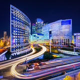 La Defense at night, Paris Stock Photo