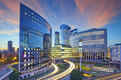La Defense, Paris. Image of office buildings in modern part of Paris- La Defense during sunset Royalty Free Stock Photography