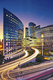 La Defense, Paris. Image of office buildings in modern part of Paris- La Defense during sunset Stock Photos