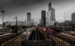 La Defense in Paris on a stormy afternoon Stock Photography