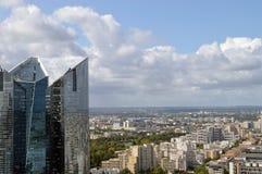 La Defense, Paris. View of modern residential districts of Paris from La Grande Arche, La Defense Stock Photo