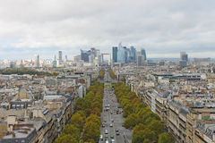 La Defense, Paris. The view from Triumphal arch Royalty Free Stock Photography