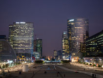 La Defense at sunset. Modern skycraper office buildings at sunset at La Defense in Paris stock photography