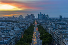 La Defense at sunset. As seen from the Arc de Triomphe Stock Photos