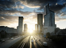 La Defense at sunset. Paris Stock Photos