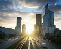 La Defense at sunset. Paris Royalty Free Stock Images