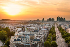 La Defense at sunset (Paris). La Defense and Champs Elysees at sunset (Paris Royalty Free Stock Photos