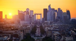 La Defense at sunset. View on the modern district la Defense in Paris Stock Images