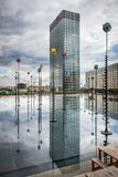 La Defense and Tour Initiale. Reflections of the Initiale Tower, La Defense, Paris Royalty Free Stock Images