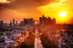 La-Defensie en champs-Elysees, Parijs, Frankrijk. royalty-vrije stock foto