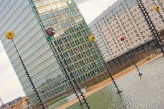 La-Defensie Parijs en economische sector en architectuur Royalty-vrije Stock Foto's