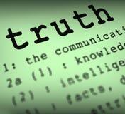 La definición de la verdad significa honradez o veracidad verdadera Fotos de archivo libres de regalías