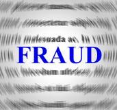 La definición del fraude indica rasga apagado y estafa Foto de archivo