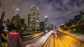 LA del lapso de tiempo del tráfico de ciudad almacen de video