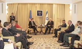 La delegación del congreso de Estados Unidos encuentra con a Israel Presidente Imágenes de archivo libres de regalías