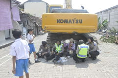 La demolizione delle case su terra ha posseduto la pinta KAI a Samarang Immagini Stock