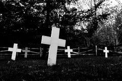 La demostración abstracta del cementerio indio inclinó cruces blancas y un árbol fantasmagórico oscuro imagen de archivo