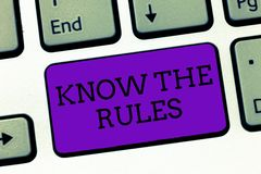 La demostración conceptual de la escritura de la mano conoce las reglas El texto de la foto del negocio aprende el principio o la imagen de archivo libre de regalías