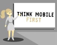 La demostración conceptual de la escritura de la mano piensa el contenido accesible 24 o 7 del primer del negocio del móvil de la libre illustration