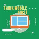 La demostración conceptual de la escritura de la mano piensa el contenido accesible 24 o 7 del primer del negocio del móvil de la stock de ilustración