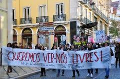 La demostración de la calle para las mujeres endereza en Lisboa Fotografía de archivo libre de regalías