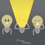 La demostración de las bombillas piensa el positivo Imagenes de archivo