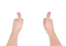 La demostración de las manos del hombre manosea con los dedos para arriba Imágenes de archivo libres de regalías
