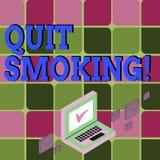 La demostración de la muestra del texto abandonó el fumar El proceso conceptual de la foto de interrumpir el tabaco y cualquier o ilustración del vector