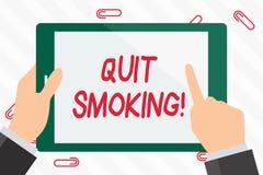 La demostración de la muestra del texto abandonó el fumar El proceso conceptual de la foto de interrumpir el tabaco y cualquier o stock de ilustración