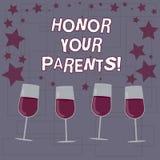 La demostración de la muestra del texto honra a sus padres Gran estima respecto conceptual de la foto del alto para su vino llena stock de ilustración