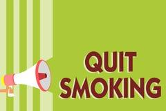 La demostración de la nota de la escritura abandonó el fumar Interrupción de exhibición de la foto del negocio o detención del us ilustración del vector
