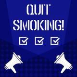 La demostración de la nota de la escritura abandonó el fumar Proceso de exhibición de la foto del negocio de interrumpir el tabac ilustración del vector