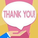 La demostración de la nota de la escritura le agradece Gratitud de exhibición del reconocimiento del saludo del aprecio de la fot stock de ilustración