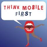 La demostración de la nota de la escritura piensa la primera foto del negocio del móvil que muestra el contenido accesible 24 o 7 stock de ilustración