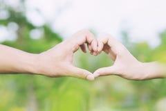 La demostración joven del amante de los pares que lleva a cabo las manos hace el corazón foto de archivo