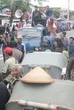 La demostración tradicional de Soekarno Sukoharjo de los comerciantes del mercado Foto de archivo